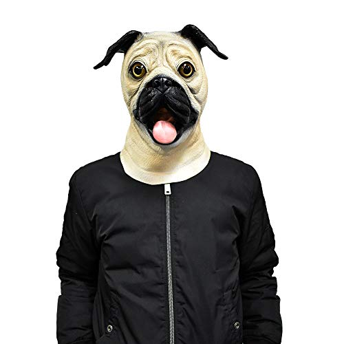 Realistic Pug Dog Mask House Pet Dog Mask Halloween Costume Cosplay Mask Black