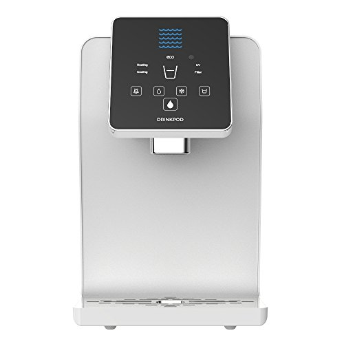 Countertop Cooler (DRINKPOD Countertop Bottle Less Cooler Pro Series 1000 with Touch Controls, Ultra Violet Sterilization and Ultra +3 Filtration, Ice White UL / Energy Star Approved)