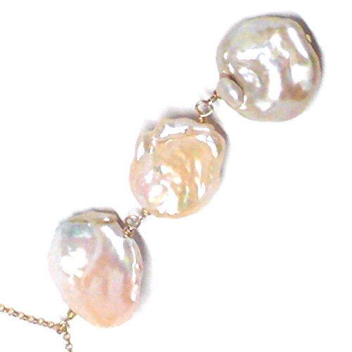 Large Champagne Baroque Petal Cultured Freshwater Pearl Three Dangles Chain Necklace Sterling Silver Gold-filled