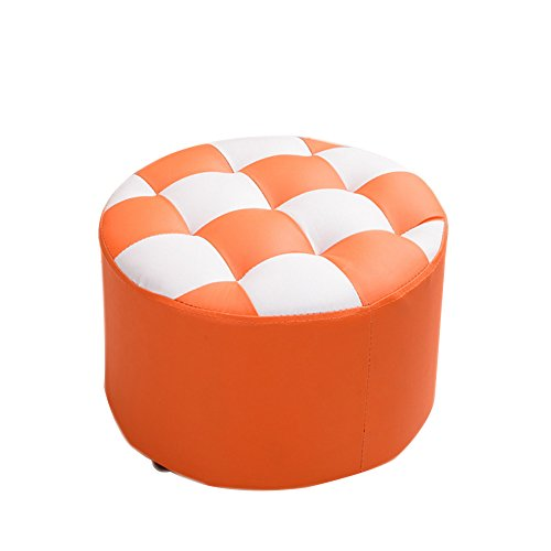 HM&DX Faux Leather Ottoman Round Coffee Table Upholstered Footstool Checker Footrest Stool Seat-orange (Coffee Ottoman Table Stitch)