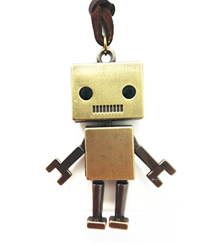 QTMY Robot Leather Chain long Necklace Jewelry Choker Collar Pendant