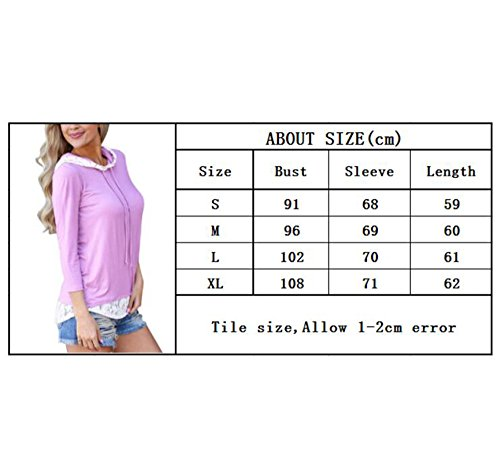 T Vert Capuchon Dames Huateng Solide Longues Slim Shirt S Chemise Couleur XL Vert Mode Manches Violet Loisirs Dentelle Creuse Y4daxqd7