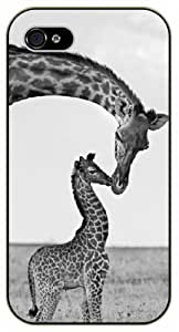 Baby Giraffe and love mom - iPhone 4 / 4S black plastic case / Animals and Nature
