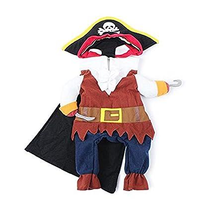 Traje de traje de mascotas, Funny Cool Caribbean Pirate Pet Halloween traje de Navidad con sombrero para perros pequeños a medianos Gatos, tamaño S