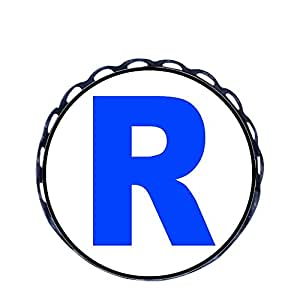 Chicforest Ancient Style Blue Letter R Round Pin Brooch