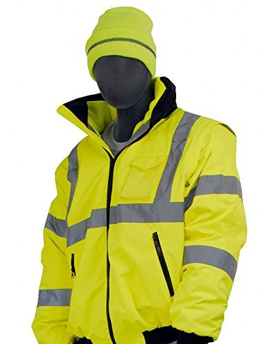 Majestic Glove 75-1300 PU Coated Polyester High Visibility Bomber Jacket with Fix Quilted Liner, X-Large, Yellow 2