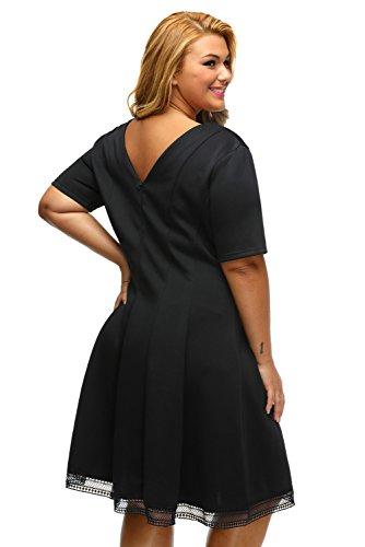 Lalagen Women's Plus Size Casual Short Sleeve Cocktail Skater A Line Dress