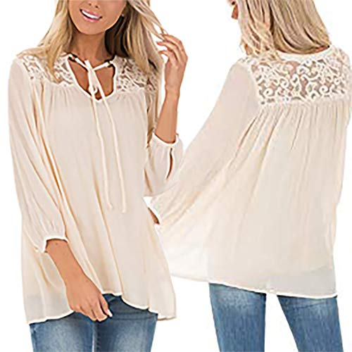 - Women's Standard Keyhole Tie Neck Lace Shoulder Panel Blouson Sleeve Top(Beige,XXL)