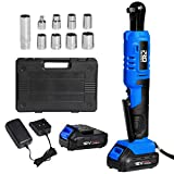 Cordless 3/8' Ratchet Wrench Set with 2PCS 2000mAh Lithium-Ion Batteries and Charger, PROSTORMER 12V Power Electric Ratchet Kit with 9-Piece Wrench Sockets and Toolbox