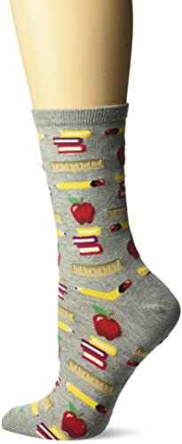 Hot Sox Women's Originals Classics Novelty Crew Socks, Teacher's Pet (Gents Heather), Shoe Size: 4-10