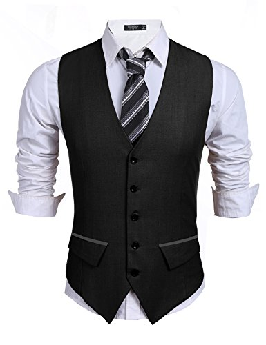 Coofandy Men's Casual Slim Fit Skinny Wedding Dress Vest Waistcoat Black X Large