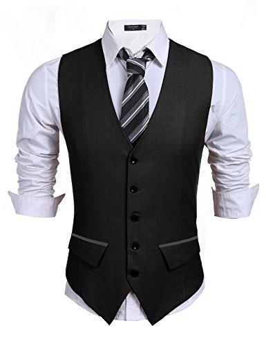 (Coofandy Men's Casual Slim Fit Skinny Wedding Dress Vest Waistcoat Black X Large )