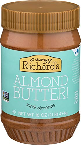 Crazy Richards All Natural Almond Butter 16 oz Jar (Almond Butter, 1 Jar) 100% Almonds, Single Ingredient, Non-GMO, No Added Sugar, No Added Salt, Vegan, No Palm Oil, Gluten Free,