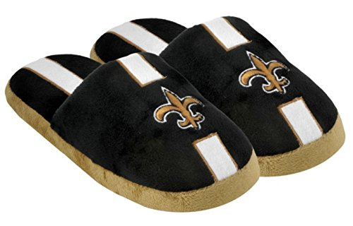 New Orleans Saints Slippers - Mens Stripe by Forever Collectibles