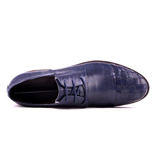 Santimon Heren Leren Pet Teen Vetrokken Oxford Schoenen Blauw