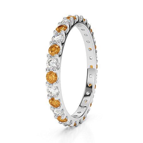 Or blanc 18carats 0,42CT G-H/VS sertie de diamants ronds Cut Citrine et éternité Bague Agdr-1104
