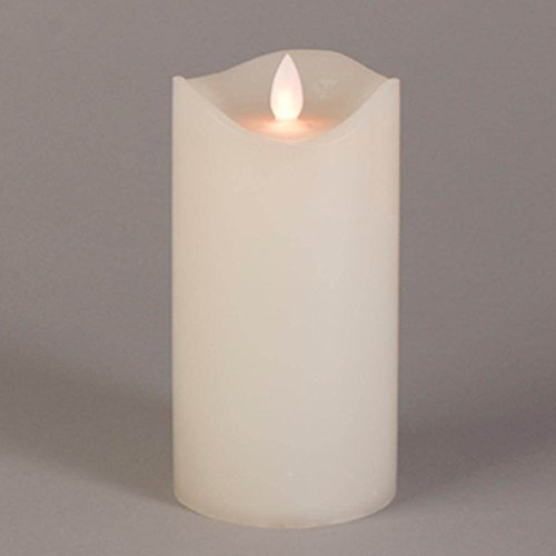 3 x 6 Inch Bisque Wavy Edge Battery Operated LED Wax Candle Light with Timer (Bulb Candlelight Decor)