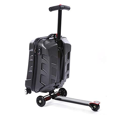 21'' Luggage Scooter, Folding Rolling Suitcase & Trolley, Hardshell Luggage Travel Rear Wheels Skateboard, Travel Storage Case Handbag Carry On Airport Outdoor Baggage (Black)