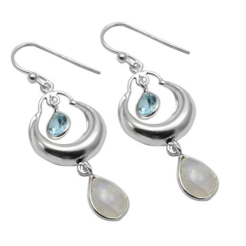 Silver Palace Sterling Silver Handmade And Natural Rainbow Moonstone And Blue Topaz Earring For Womens And Girls
