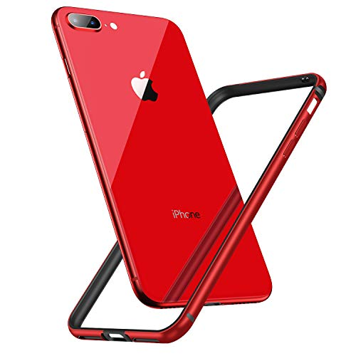 CASEKOO iPhone 8 Plus Bumper Case, iPhone 7 Plus case,Slim Design Aluminum Frame with Soft TPU Inner Edge Protective Bumper Case Compatible with iPhone 8 Plus/iPhone 7 Plus [Metal Series]-Red