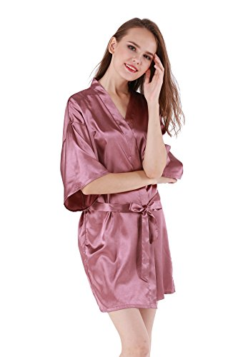 Women's Satin Plain Short Kimono Robe Bathrobe, Small, Pinkish -