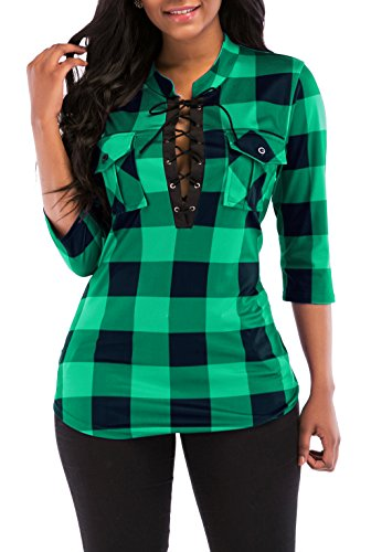 (KISSMODA Womens Casual Roll up Sleeves Fitted Plaid Shirt with Pocket Green)