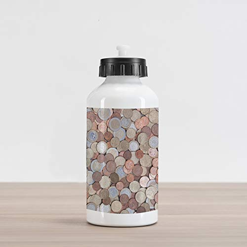 Ambesonne Money Aluminum Water Bottle, Close Up Photo of Coins European Union Euros Cents on Rustic Wooden Board, Aluminum Insulated Spill-Proof Travel Sports Water Bottle, Bronze Silver Yellow