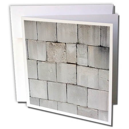3dRose TDSwhite – Miscellaneous Photography - Stacked Cement Cinder Block Brick Wall - 12 Greeting Cards with Envelopes (gc_285230_2)