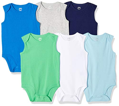 Amazon Essentials Baby Boys 6-Pack Sleeveless Bodysuits, Solid Blue & Green, 0-3M