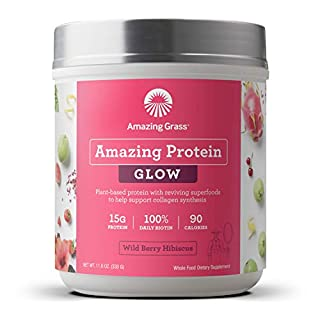 Amazing Grass GLOW Vegan Protein Powder: Organic Plant Based Collagen Support Protein Powder with Biotin Supplements, Wild Berry Hibiscus Flavor, 11.6 Ounce (B07G32WWZ1) | Amazon price tracker / tracking, Amazon price history charts, Amazon price watches, Amazon price drop alerts