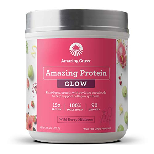 Amazing Grass GLOW Vegan Protein Powder: Organic Plant Based Collagen Support Protein Powder with Biotin Supplements, Wild Berry Hibiscus Flavor, 11.6 Ounce