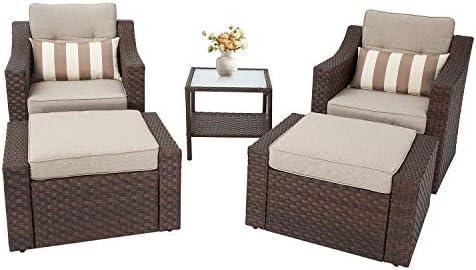 Oakmont 5 Pieces Patio Furniture Set Outdoor Chair and Ottoman Set