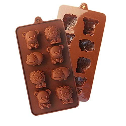 Cooki Cutter - Mj002 Little Bear Hippo Lion Shaped Chocolate Mold Food Grade Silicone Ice Trays Mould - Tiki Lobster Elephant Kiss Duck Happy Flop Music Cactus Birthday Plaque Cream -