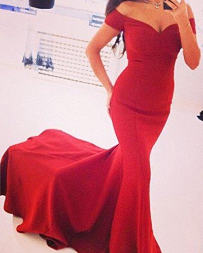 SaiDeng Mujer Vestido De Novia De V Cuello Fiesta De Baile Vestido Sin Espalda Maxi Falda Rojo