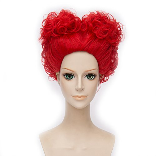 Red Queen Wig Alice Cosplay Anime Hair Short Red Curly Movie Cosplay Wig -