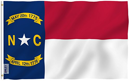 ANLEY [Fly Breeze] 3x5 Foot North Carolina State Polyester Flag - Vivid Color and UV Fade Resistant - Canvas Header and Double Stitched - North Carolina NC Flags with Brass Grommets 3 X 5 Ft (Furniture Raleigh Nc Cheap)