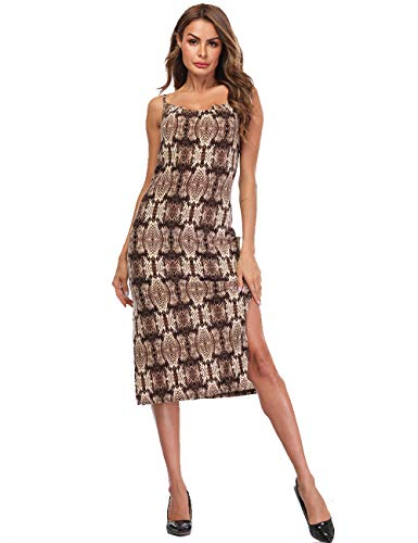 (Dress for Women Summer Snake Print Slip Strappy Scoop Neck Flowy Sleeveless Tank Top Midi Cami Bodycon Dresses Brown)