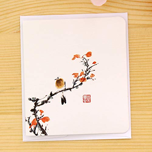 JEWH Creative simple classical Chinese Style folding card Christmas New Year blessing universal greeting card (Flowers and birds)