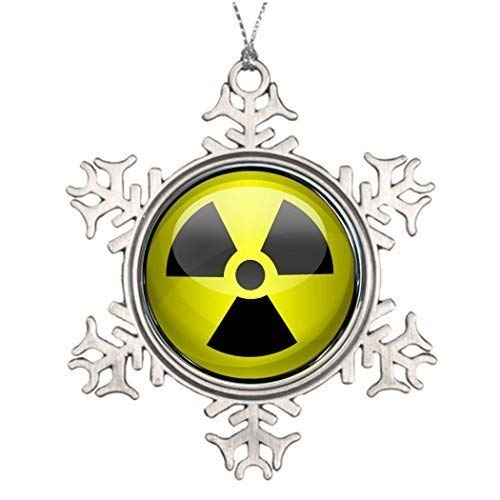 EvelynDavid Snowflake Ornament Metal Ornaments Xmas Trees Decorated Nuclear Radiation Symbol Radioactive Warning Sign Halloween Snowflake Ornaments