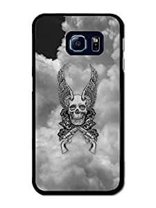 Cool Skull With Wings And Guns In The Sky Black And White Design case for Samsung Galaxy S6 Edge