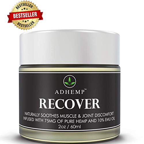 Recover Organic Hemp Pain Relief Cream Formulated for Arthritis, Knee, Hand Pain, Joint & Back Pain, Made in The USA- Pain Cream, Hemp Cream for Inflammation and Sore Muscles 10% Emu Oil, Arnica- 2oz
