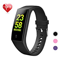 goopow Fitness Tracker, Activity Tracker Watch with Heart Rate Monitor, Waterproof Smart Fitness Band with Step Counter, Calorie Counter, Pedometer Watch Kids Women and Men (Vblack)