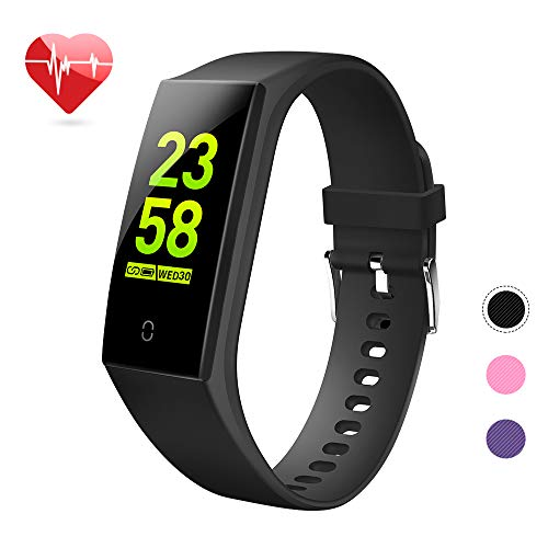 goopow Fitness Tracker, Activity Tracker Watch with Heart Rate Monitor, Waterproof Smart Fitness Band with Step Counter, Calorie Counter, Pedometer Watch Kids Women and Men (Vblack) (Mile Tracking Watch)
