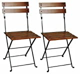 Vintage Wood Slat Folding Chairs Mobel Designhaus French Café Bistro Folding Side Chair, Jet Black Frame, European Chestnut Wood Slats with Walnut Stain (Pack of 2)
