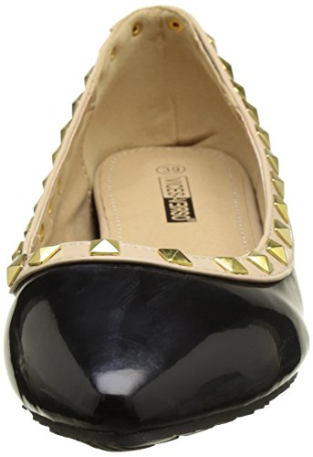 Bailarinas pintaron dos tonos negro y beige con tacón de 3 cm tachonado