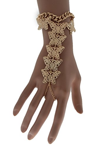 TFJ Women Fashion Jewelry Hand Chain Wrist Bracelet Slave Ring Metal Long Finger Butterfly Gold