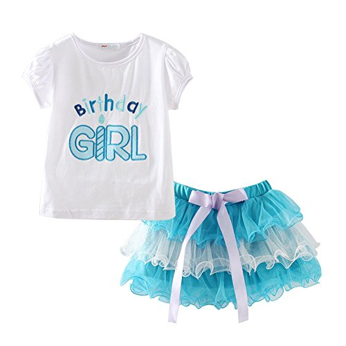 Mud Kingdom Little Girl Birthday Outfit 4 Tops and Skirt Tutu Clothes Set 4T Blue ()