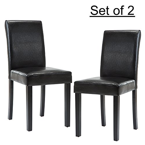 LSSBOUGHT Set of 2 Urban Style Leatherette Dining Chairs With Solid Wood Legs (2, Black)