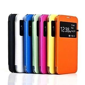 ZCL- Caso de cuero PU caso trasero duro con ventana de visualización para Samsung Galaxy i9600 S5 (colores surtidos) , Amarillo
