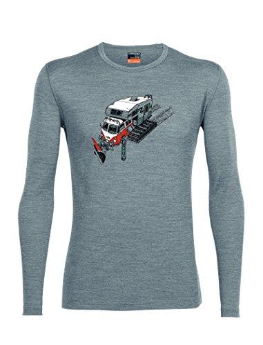 - Icebreaker Merino Men's Oasis Long Sleeve Crewe With Graphic, Snow Bug - Metro Heather, Small